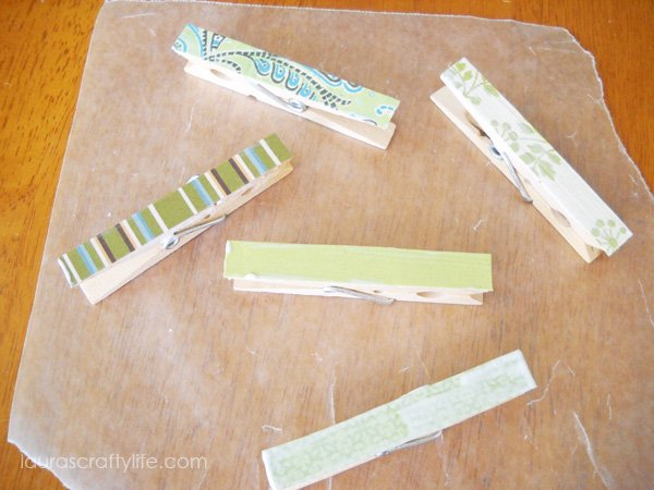 Allow clothespins to dry on wax paper