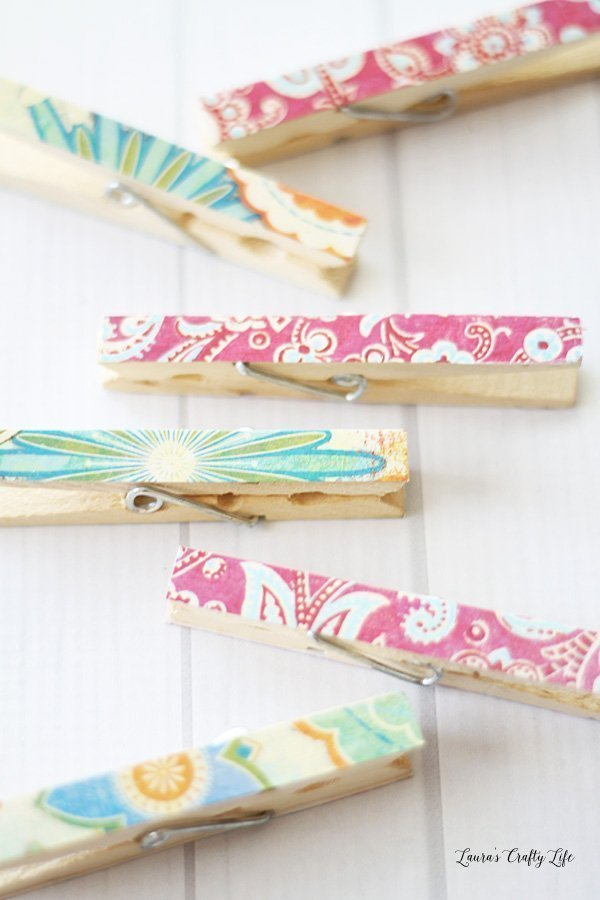 Decoupaged Clothespins tutorial