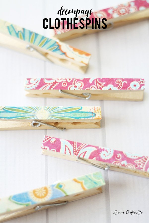 Learn how to easily make decoupaged clothespins - they make a great gift