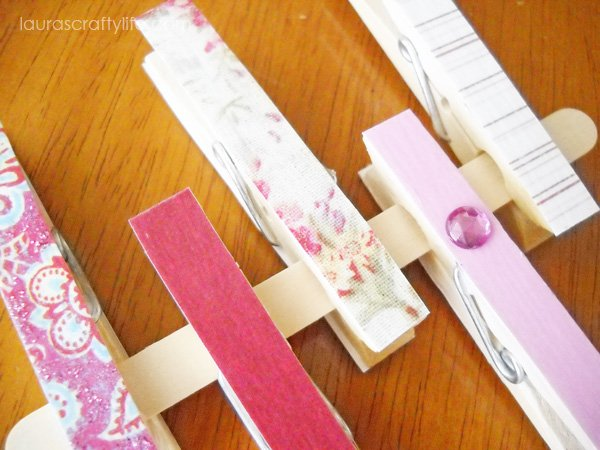 Pink decoupaged clothespins - close up