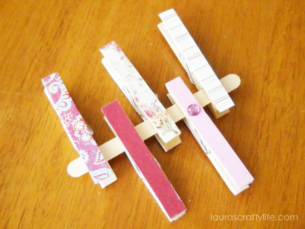 Pink decoupaged clothespins