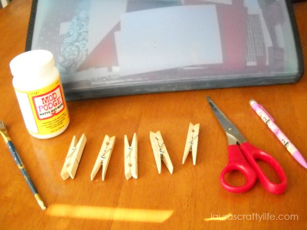 Supplies to decoupage clothespins