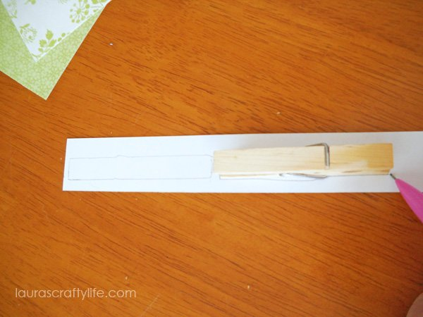 Trace clothespins on back of paper
