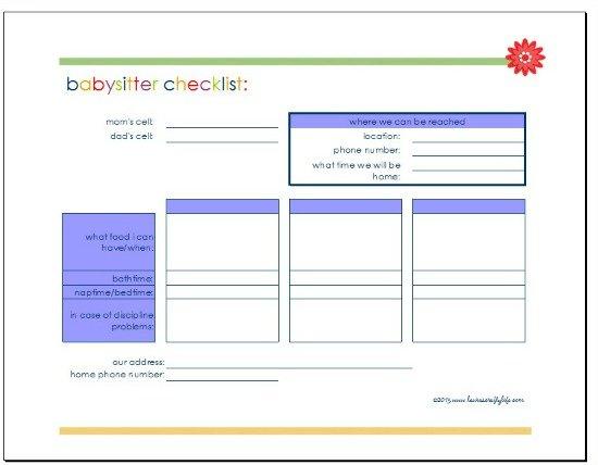 Download Babysitter checklist