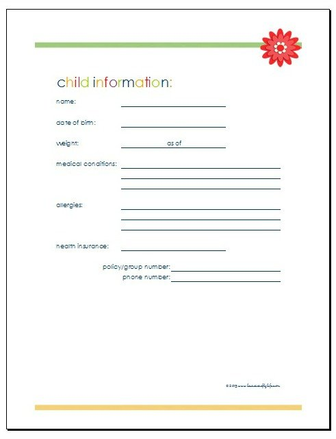 Download Child Information printable