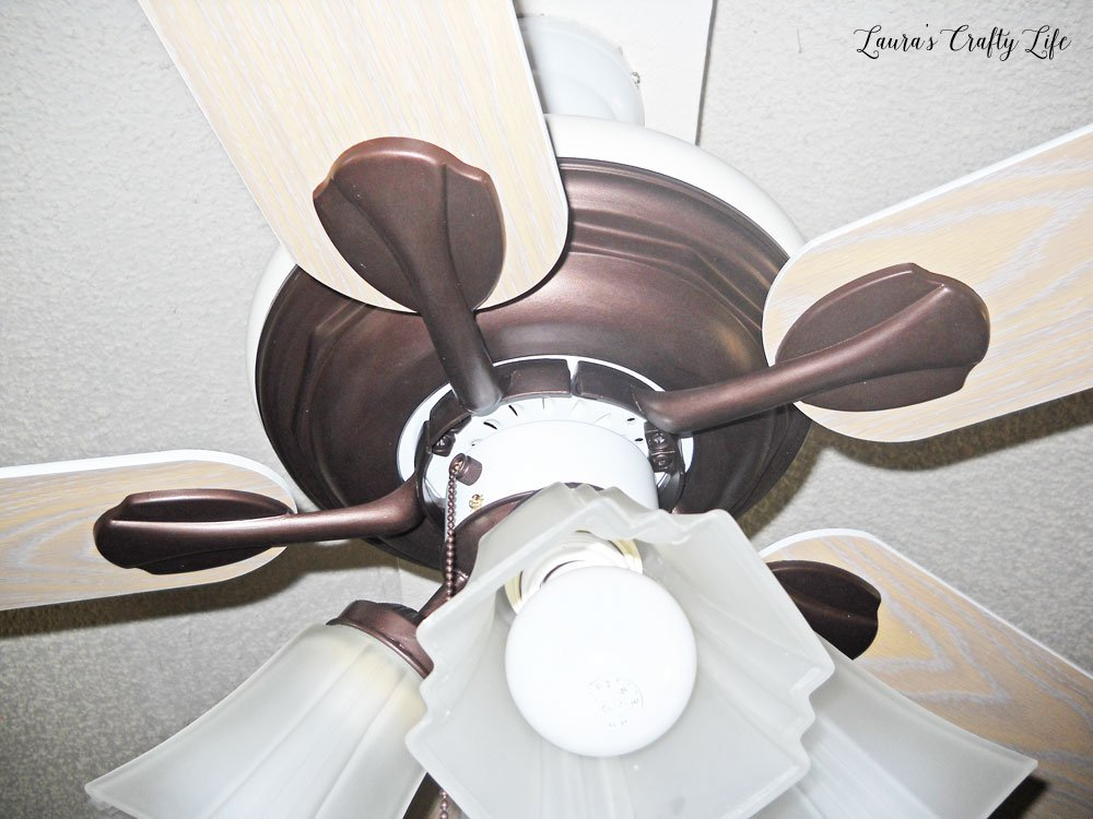 Close up of ceiling fan after being painted