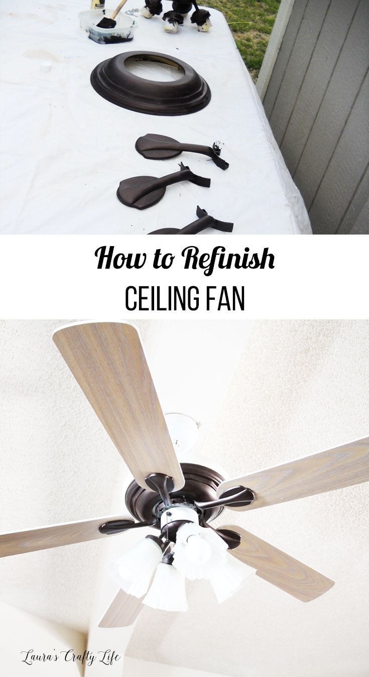 How to refinish a ceiling fan with text overlay