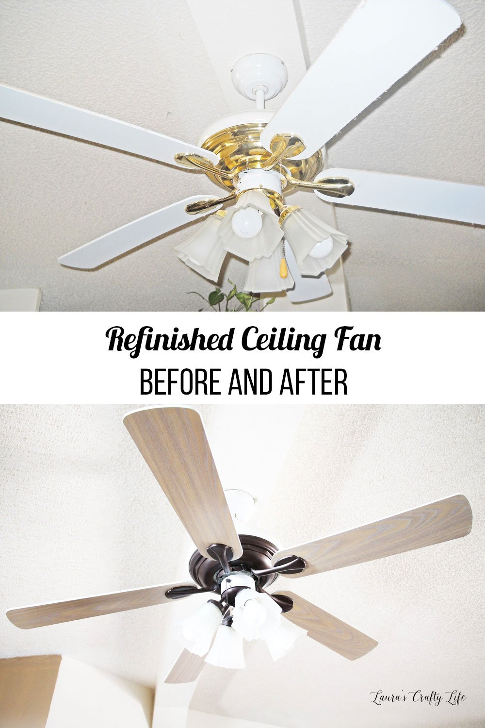 Refinished ceiling fan before and after