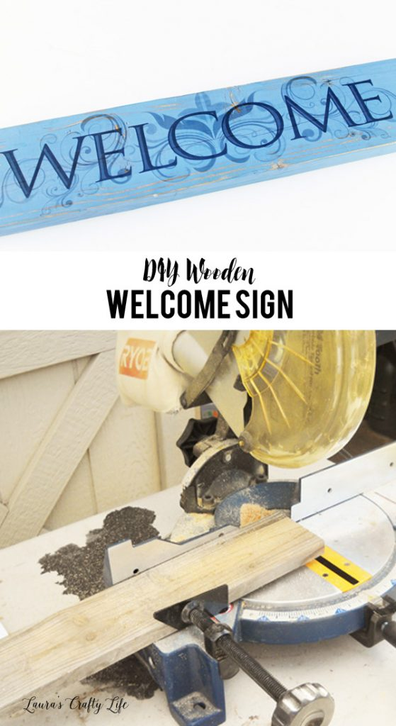 DIY Wooden Welcome Sign made with scrap lumber and vinyl from Dollar Tree