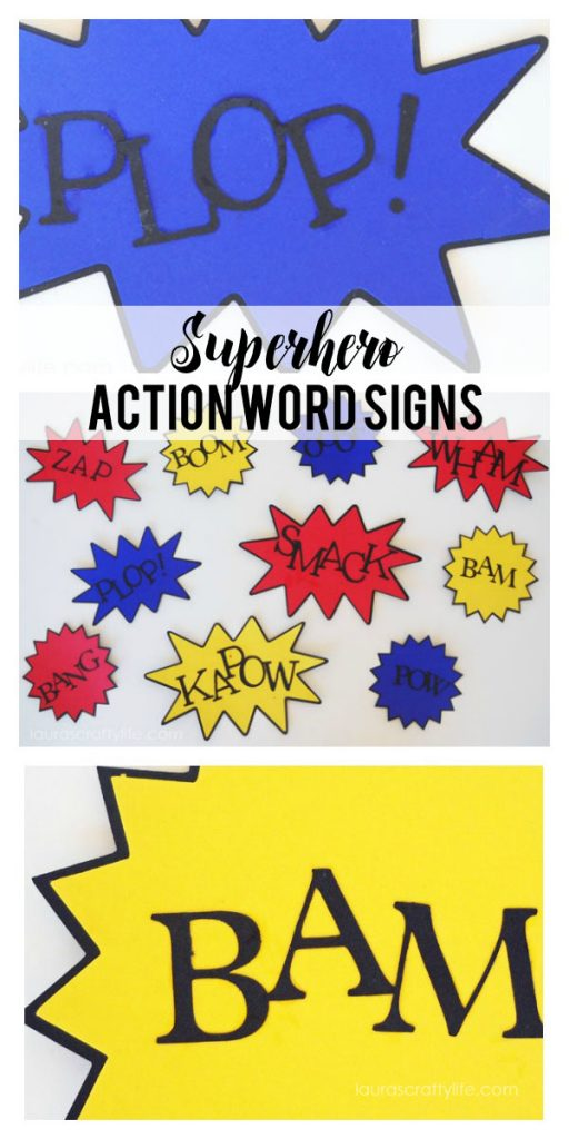 Superhero Action Bubble Signs made with Cricut
