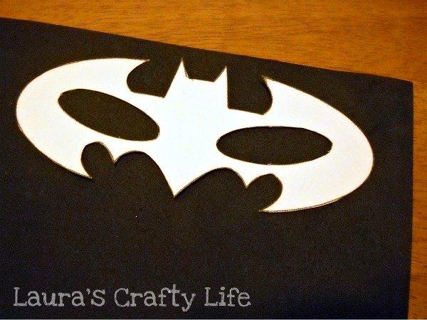 Trace batman mask template on to foam