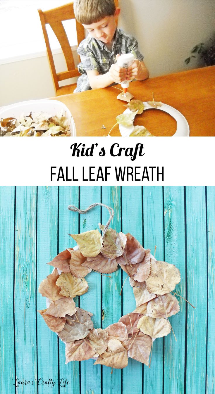 Kid's craft - fall leaf wreath
