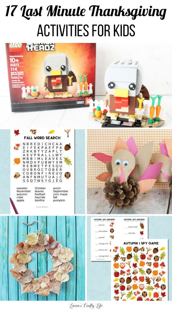 17 Last minute Thanksgiving activities for kids - printables, crafts, and more! #Thanksgiving #laurascraftylife #kidscrafts