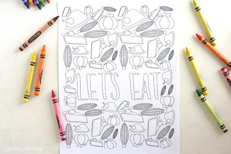 Let's Eat Coloring Page - Liz on Call