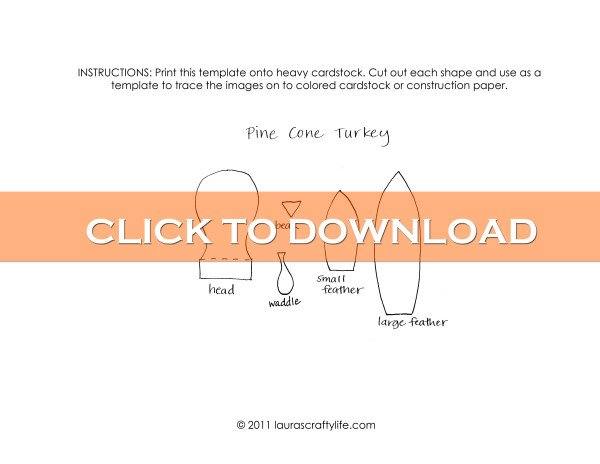 Click to download Pine Cone Turkey Template