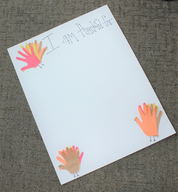 Thankful Chart with handprint turkeys - GYCT Designs