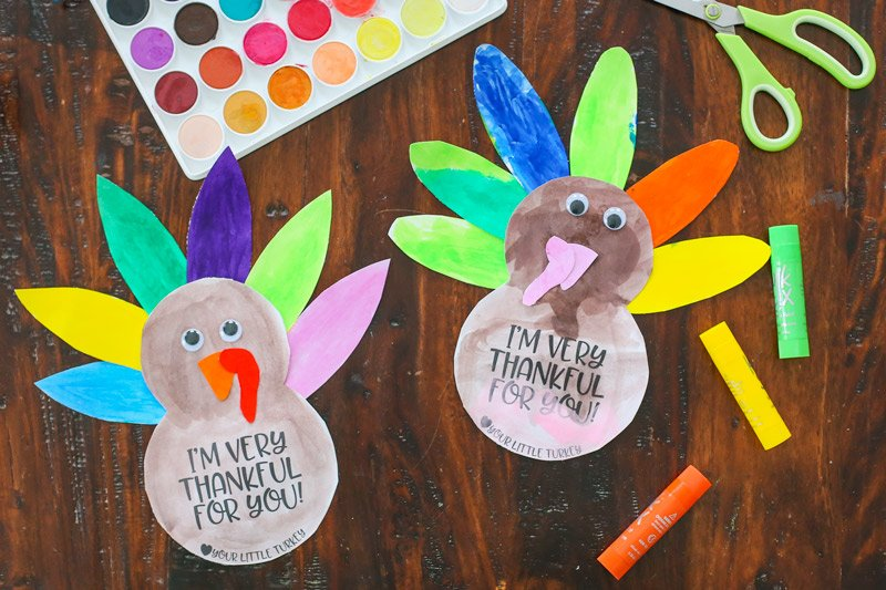 Painted turkey kids craft - The Littles & Me