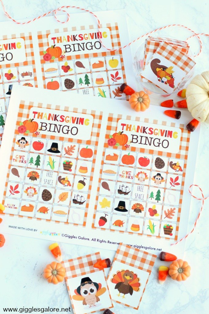 Free printable Thanksgiving bingo - Giggles Galore