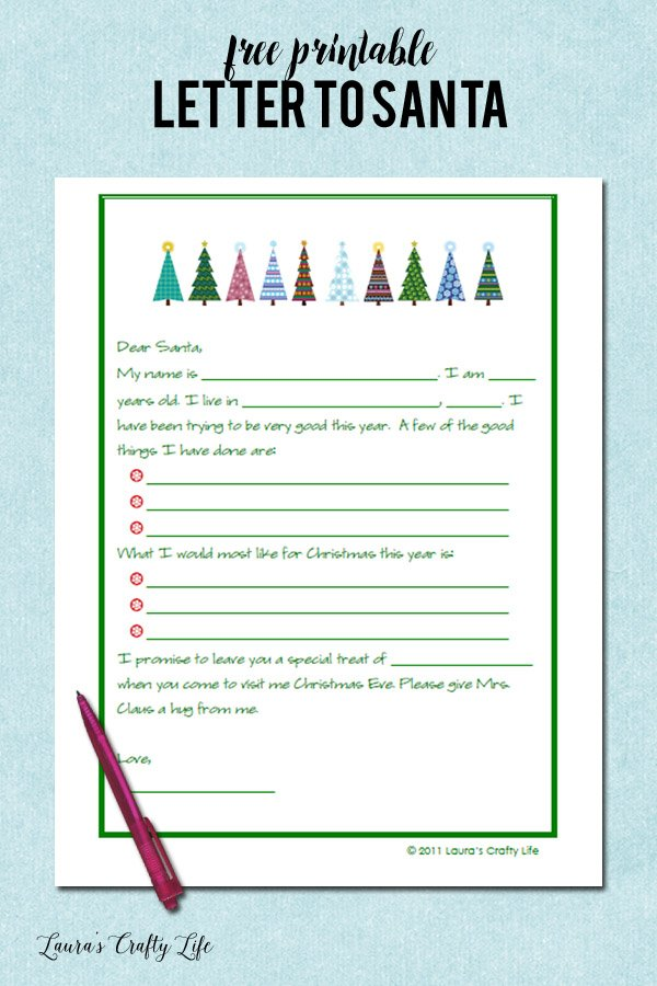 Free printable letter to Santa for your child to fill out
