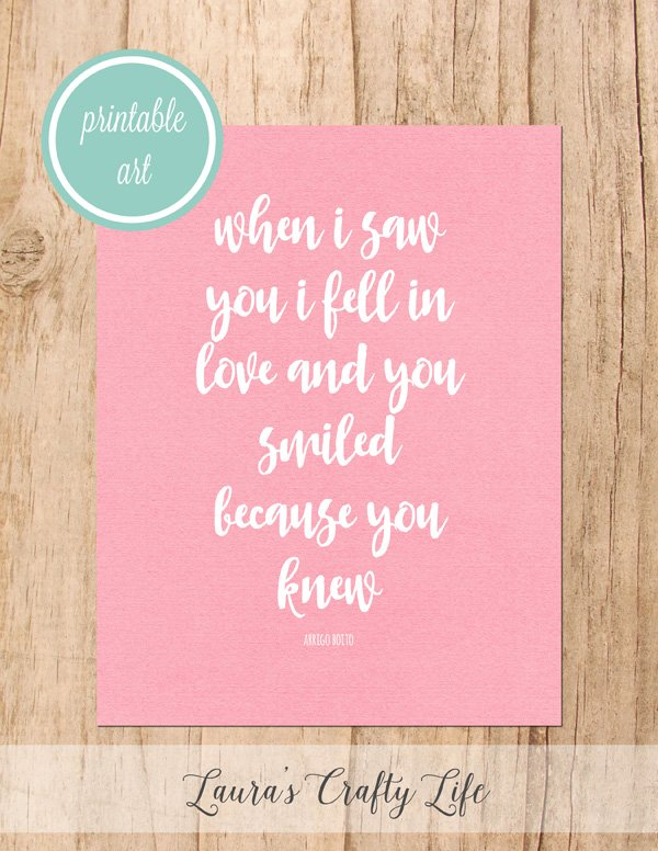 Because You Knew free printable art - Pink