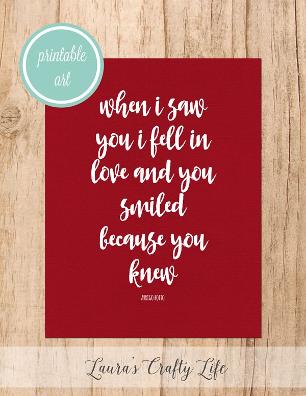 Because You Knew free printable art - Red