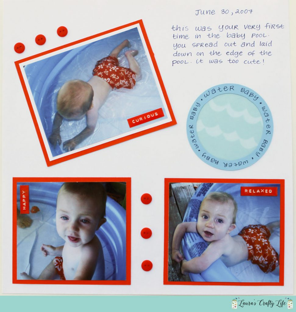 first pool scrapbook layout
