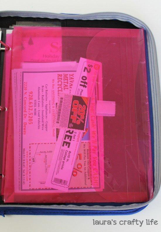 coupon binder back pocket