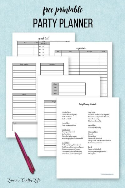 Free printable party planner - a place to track expenses, guest list, schedule, and details