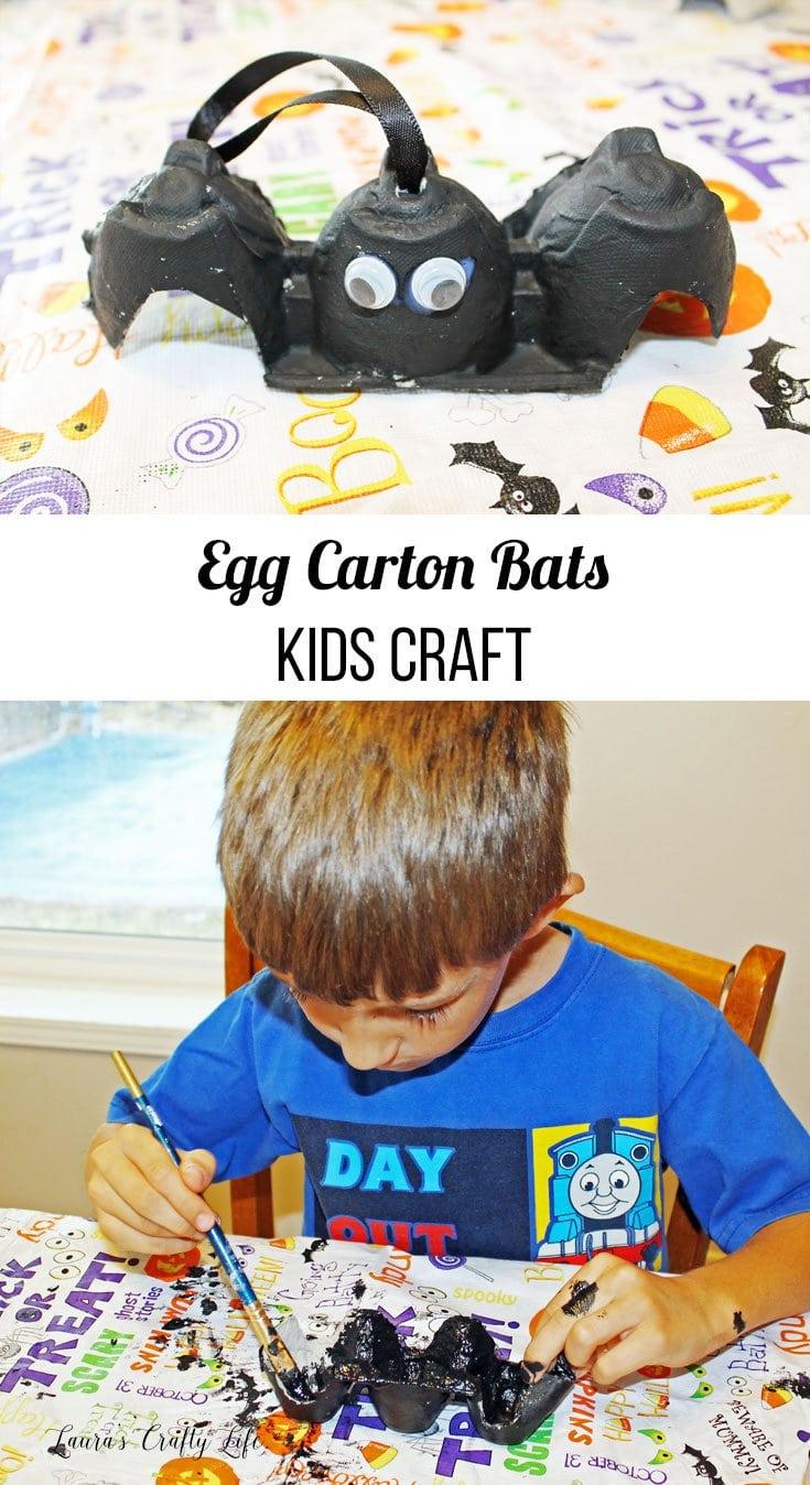 egg carton bats kids craft