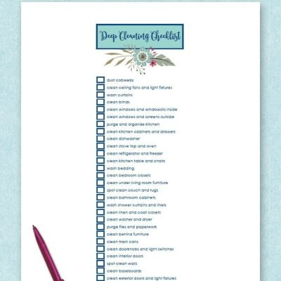 Free printable deep cleaning checklist