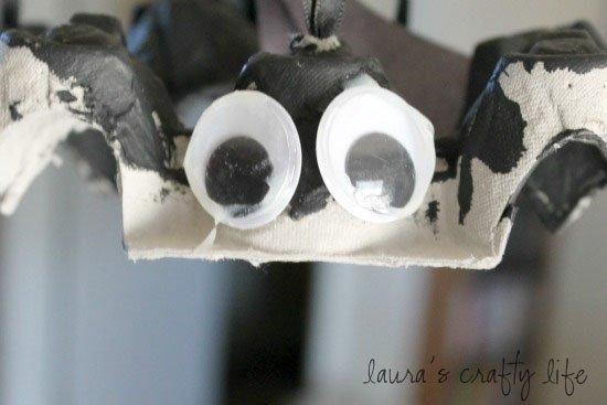 egg carton bat with big eyes