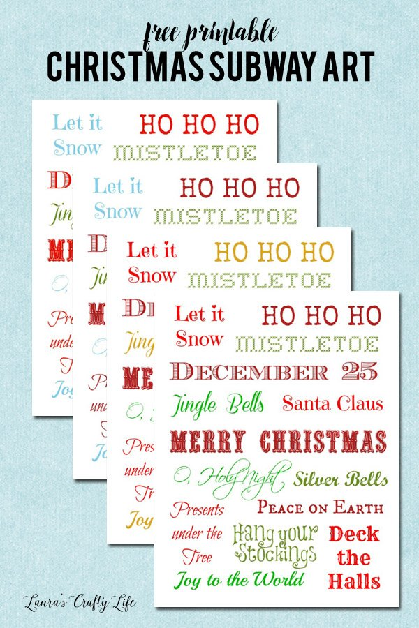 Free Printable Christmas Subway Art - 4 different color options