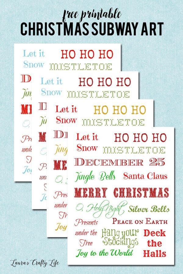 Free Printable Christmas Subway Art - 4 different color options
