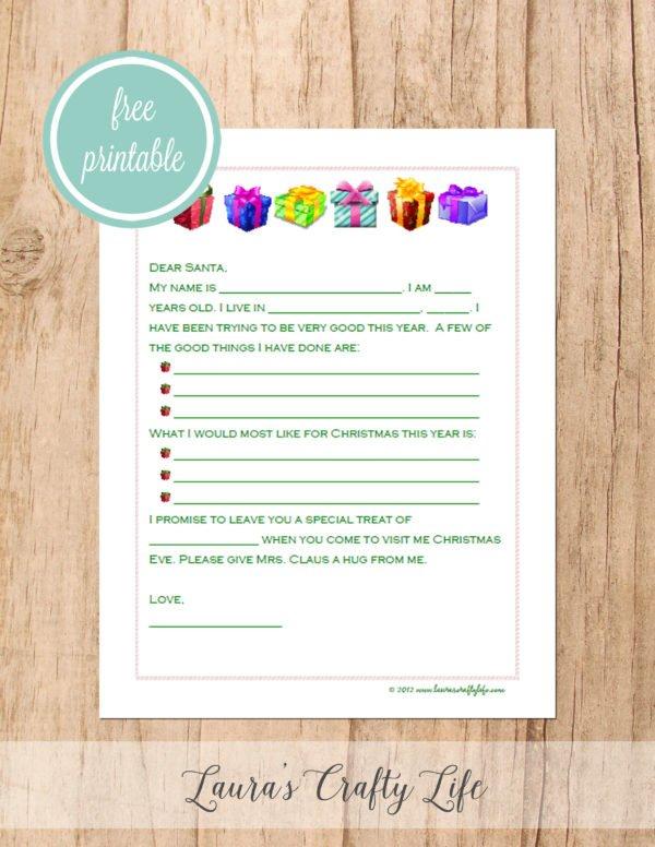 Free printable letter to Santa - presents