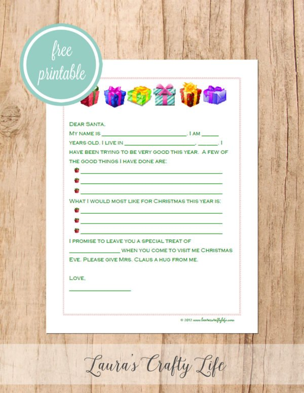Free printable letter to Santa - presents