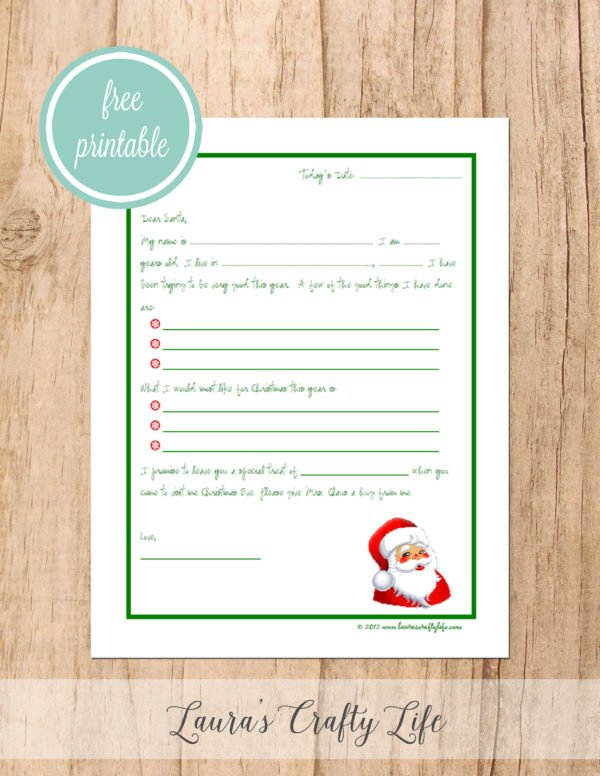 Free printable letter to Santa with a Santa picture