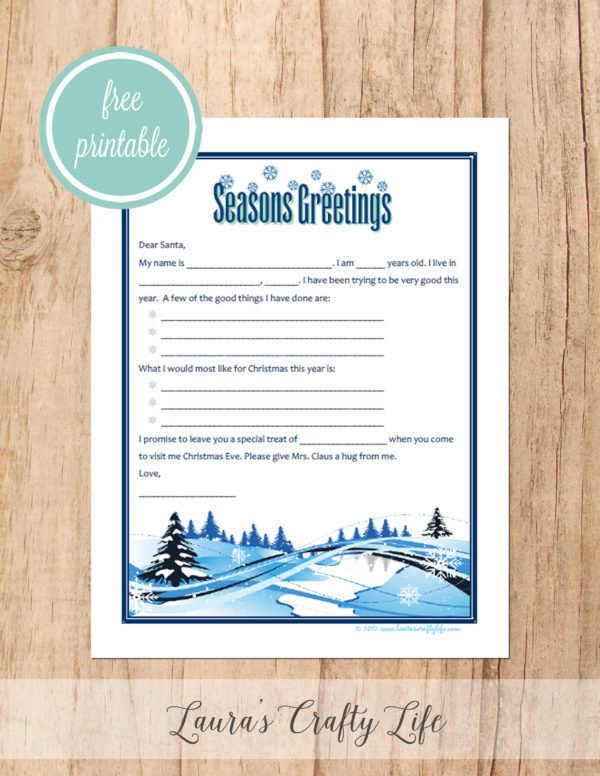Free printable letter to Santa - Seasons Greetings