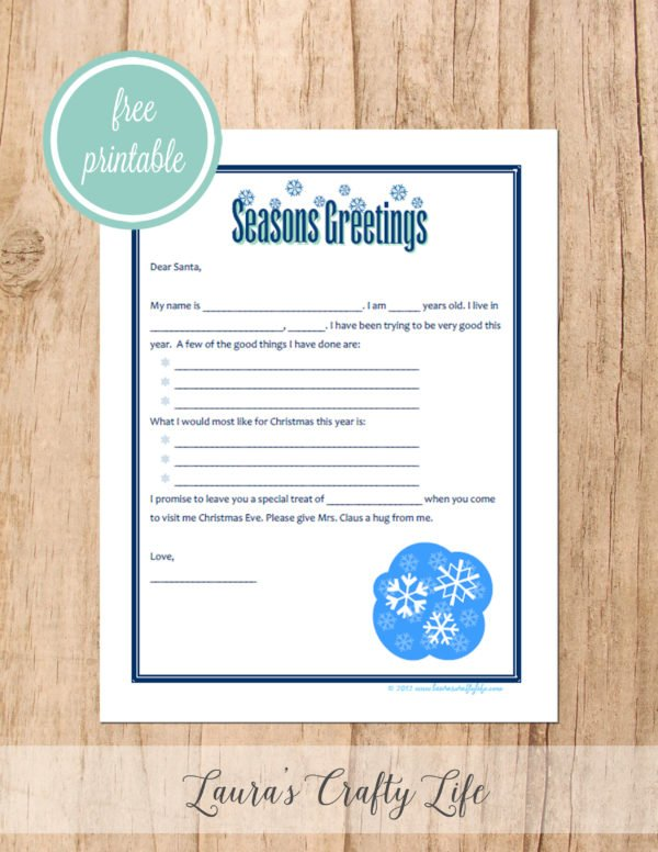 Free printable letter to Santa - Seasons Greetings and snowflakes