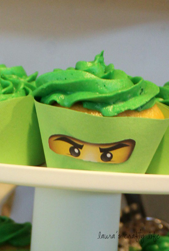 Green LEGO Ninjago cupcakes