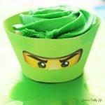 LEGO Ninjago cupcake liner with free printable eyes