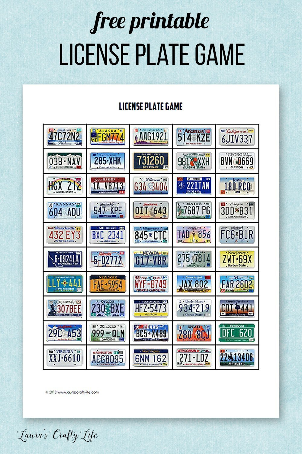 photograph relating to License Plate Game Printable referred to as Highway Holiday Recreation Printables - Lauras Cunning Existence