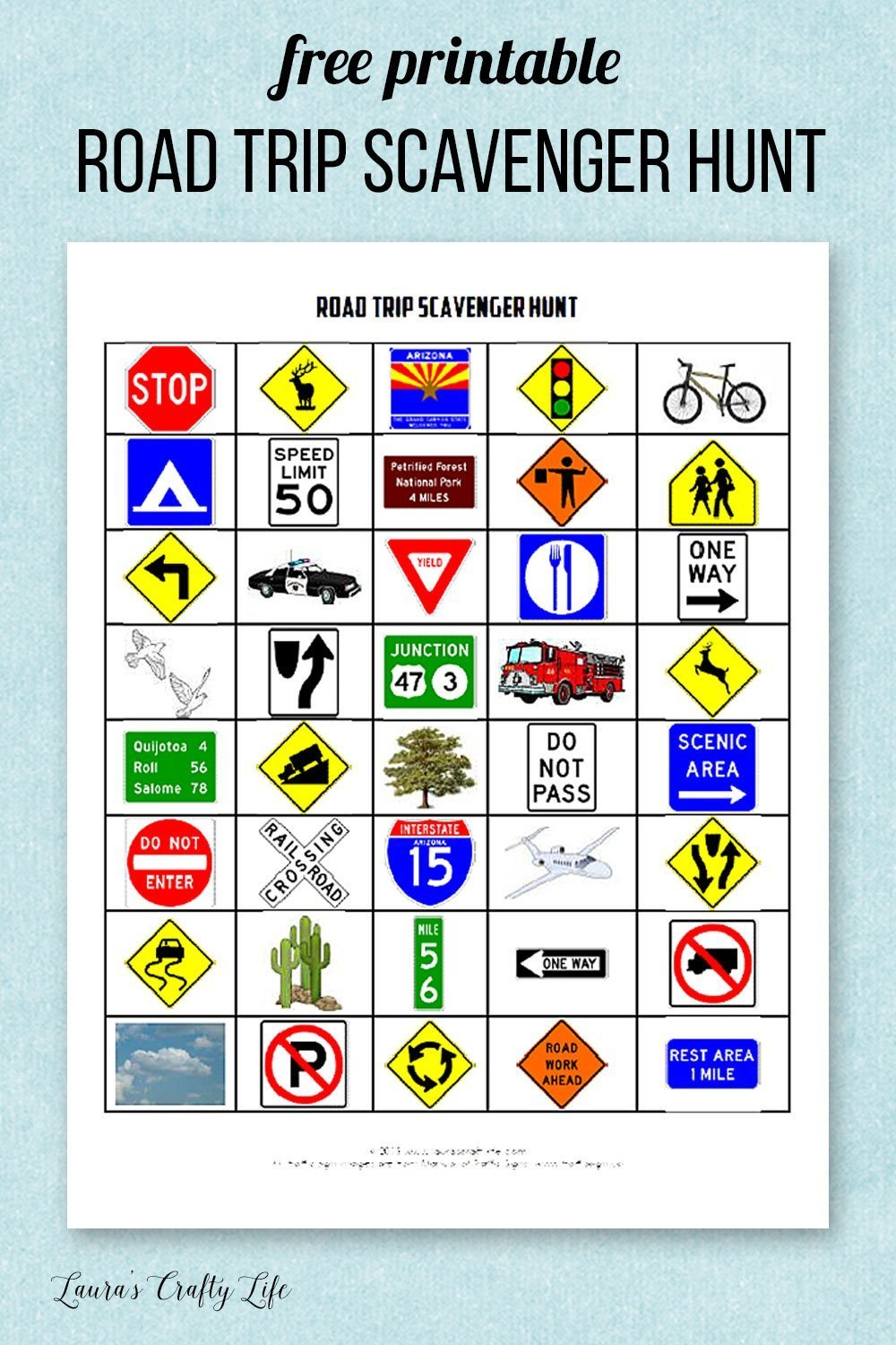 photo regarding Road Trip Scavenger Hunt Printable titled Street Family vacation Sport Printables - Lauras Cunning Lifetime