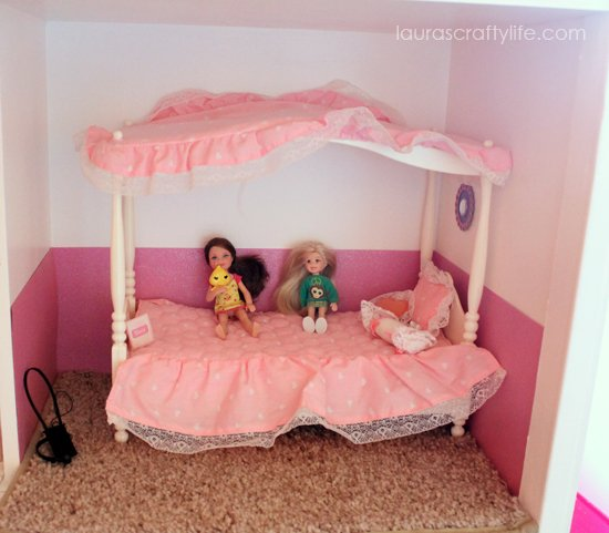 Barbie house bedroom with canopy bed