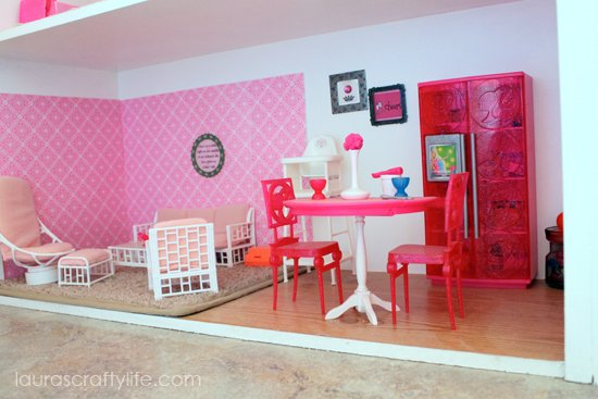 Barbie house living room and kitchen