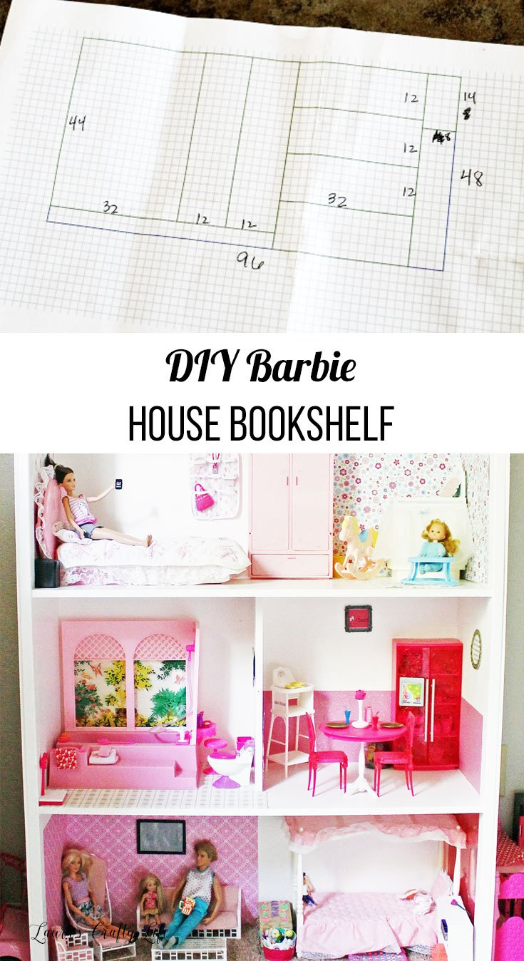 DIY Barbie House Bookshelf - plans on how to build your own Barbie house