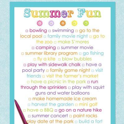 free printable summer fun list