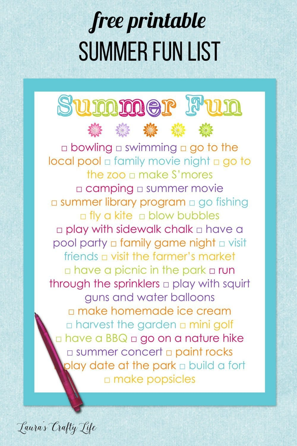 free printable summer fun list