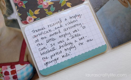 journaling t-ball project life page
