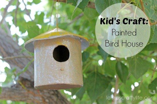 kids craft painted bird house