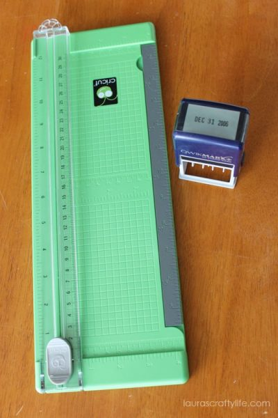 paper trimmer and date stamp